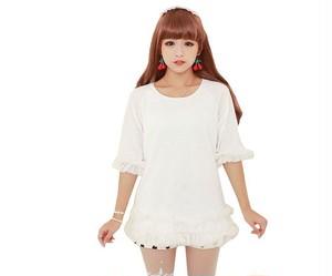 レディース服 フリル ワンピース 五分袖 ホワイト 姫系 可愛い系 k541
