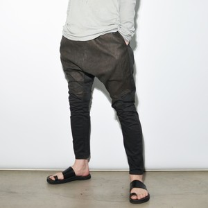 "Leather Cotton ""sarouel"" Pants〈Charcoal Grey〉"