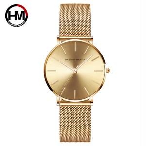 ステンレススチールバンドクォーツムーブメント防水女性フルローズゴールドレディース高級腕時計CC36-WJJ