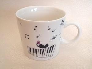 猫と音符 マグカップ