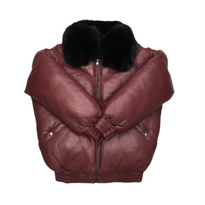 Sale DaRucci Leather Men V Bomber Black Fur