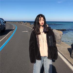 【アウター】ファッション無地冬ショート丈スタンドネック長袖コート