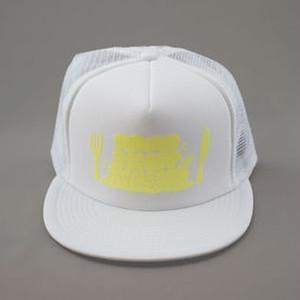 『パパシンキングダム』メッシュキャップ (白×蛍光イエロー)