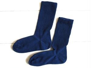 ◆100%自然素材 天然灰汁発酵建て 本藍染◆ オーガニックコットン リブ先丸靴下