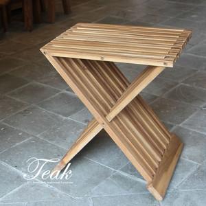 無垢チーク材を使用したおしゃれな折りたたみスツール [ナチュラル] cc01 椅子 コンパクト ベランダ キャンプ
