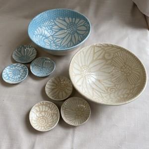 floral:花模様の器シリーズ B /ボウル&豆皿セット/ 麺鉢・丼もの