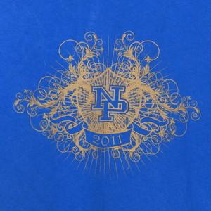 USA古着プリントTシャツL青NPシンプルプリント片面 綿100極美品