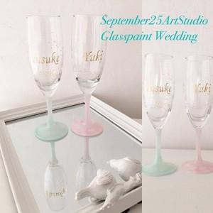 【フラワー】小花が祝福 名入り+記念日グラス 選べるフットカラー/結婚式乾杯記念日グラス・ウェディングギフト・結婚祝い