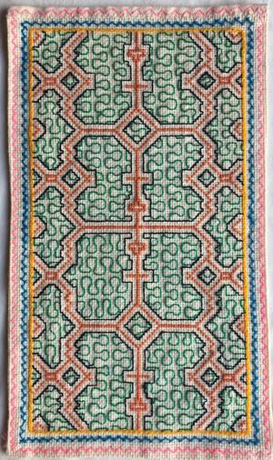 シピボ族の手刺繍 カフェマット 19x30 極繊細シリーズ