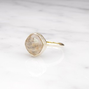 SINGLE SQUARE STONE RING GOLD 005