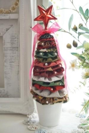 ★可愛いヨーヨーキルトで作るクリスマスツリー★王道の赤緑A