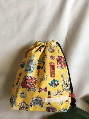入園入学給食袋コップ入れ巾着68ロンドンバス&イギリス