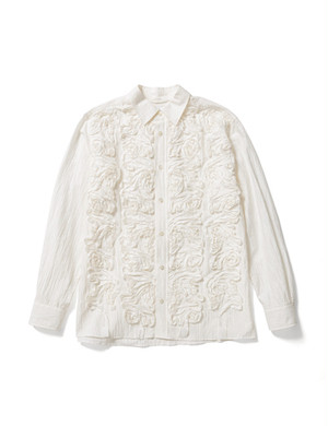 TAPE EMBROIDERY L/S SHIRT -WHITE- / Sasquatchfabrix.