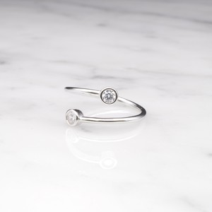 S925 DOUBLE CIRCLE ZICONIA RING SILVER