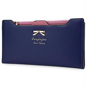 Candy Color Zipper Wallet Female Carteira Feminina Women Purse  Long Bow Wallets PU Thin Card Holders Purse Portefeuille Femme