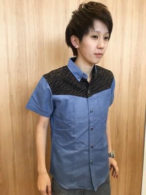 ゼブラ柄デニムシャツ(半袖)