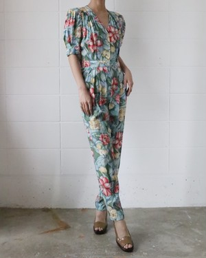 80's floral All in one