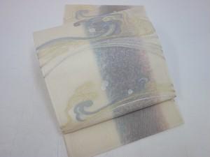 ☆91019☆未使用美品 夏物 袋帯 波頭模様 絽地
