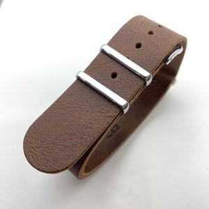 【FIF belt】 オイルレザー NATO ストラップ ブラウン 20mm 腕時計ベルト