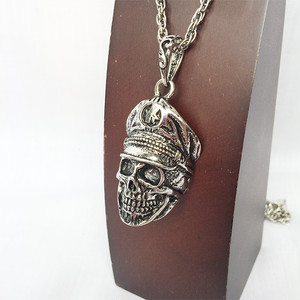 スカル 骸骨 ガイコツ 髑髏 ドクロ 亡霊 軍人 銀 シルバー ネックレス 1237
