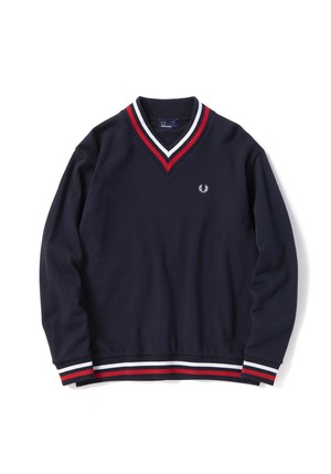 (フレッドペリー)FRED PERRY F1742 01 LOOPBACK V / N SWEAT SHIRT NAVY