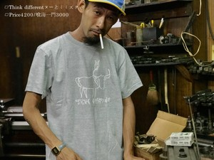"Think different""ヌーとミミズクTee""Hand-printed/GRY"