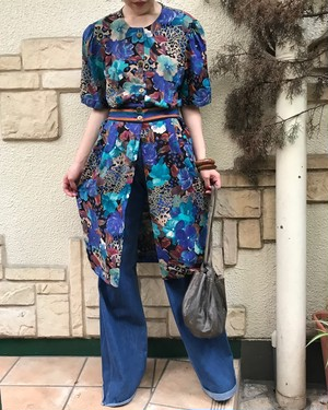 80s rayon floral dress ( ヴィンテージ  レーヨン 花柄 ワンピース )