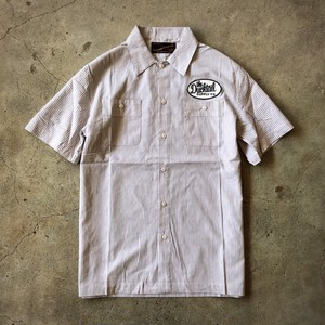 "DUCKTAIL CLOTHING SHORT SLEEVE STRIPE WORK SHIRT ""TRUCKIN'"" WHITE ダックテイル クロージング 半袖ワークシャツ"