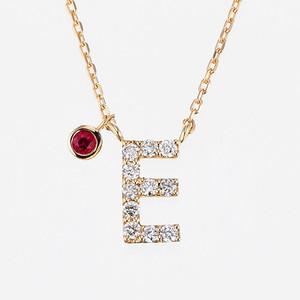 Initial K18YG Diamond【E】Pendant Necklace with Charm (ダイヤモンド イニシャル【E】ペンダントネックレス チャーム付き)
