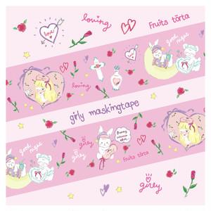 少量再販♡お眠り少女と少女のペットたち♡ガーリーマスキングテープ24mm