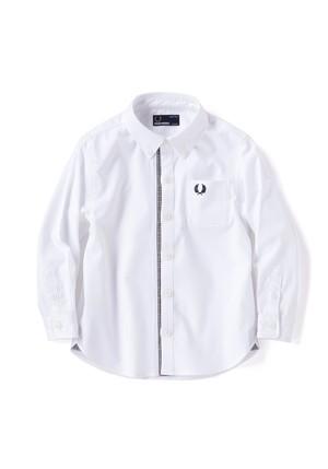 Kids FRED PERRY Glencheck Trim Shirt ( ホワイト カラー ) キッズ フレッドペリー フォーマルコレクション