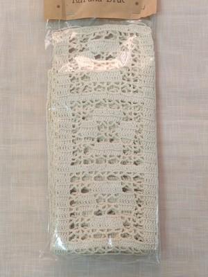 送料無料 ハンドメイド 手編み モチーフ レース アイボリー色 158cm アメリカ