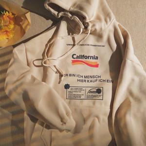 ★UNISEX California裏起毛フーディー(Black,Cream) 9800