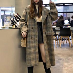 【アウター】韓流ファッション定番チェク柄ロングコート
