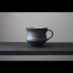 黒と銀彩の美しき器 陶芸作家【谷井直人】黒×銀彩 マグカップ