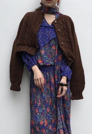 Vintage handmade brown cropped cardigan ( ヴィンテージ  ブラウン クロップド カーディガン