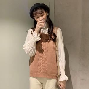 【セットアップ】2点セット新作無地長袖プルオーバーシャツ+ニットベスト