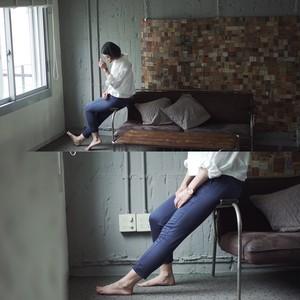 Ladys, 日本製ストライプパンツ (ネイビー×グレー) ストレッチサテン素材