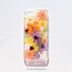 【送料無料】優しいオレンジシャーベット 押し花 スマホケース iPhoneケース