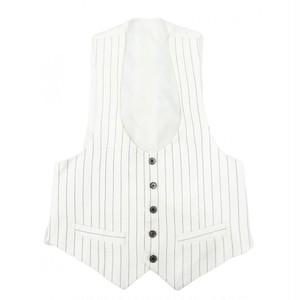 前開き 紳士服 柄 ジレベスト ウェストコート チョッキ 白 ストライプ メンズ ベスト ブランド Mサイズ