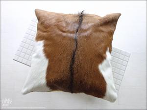 毛皮クッションカバー PUTI-7 天然皮革 手作り レトロ調 本革 アンティーク調 本皮 北欧調 ハンドメイド ハラコ 正方形