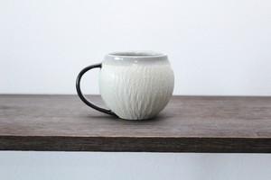 陶芸作家【MUSHITARO/新納虫太郎】Round Mug erosion pattern somekan ラウンドマグカップ【墨】