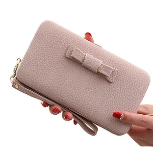 Leather Wallet Zipper Purse Long Card Wallet Clutch ロング リボン レザー 財布 パスケース ウォレット (HF99-5263499)