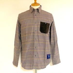 Glen Check Shaggy MOON Pocket BD Shirts Beige