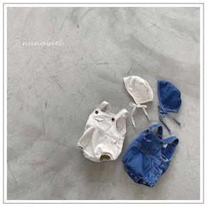 【予約販売】mini pocket denim rompers【baby】with bonnet〈nunubiel〉