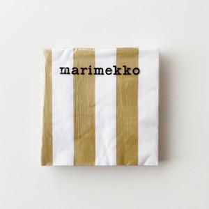2020秋冬新作【marimekko】ランチサイズ ペーパーナプキン KAKSI RAITAA ゴールド 20枚入り