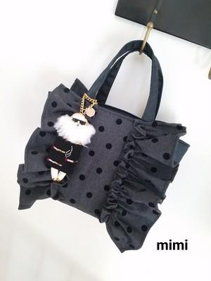 mimi☆フリルバッグ☆フリルトート☆ブラックドット☆マチSサイズ