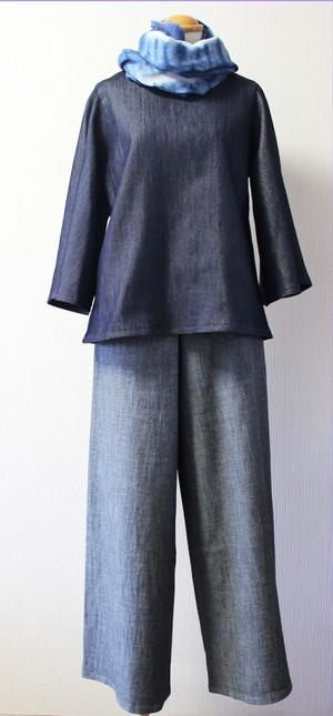 「博多モザイク」ワイドパンツ(WP-13)ガウチョ キュロット M ライトグレー