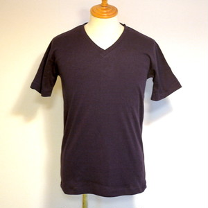 High Tension Circular Rib V Neck TEE DeepPurple