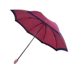 移動に便利なレインポケット付 折りたたみ傘 ストライプ/ワイン